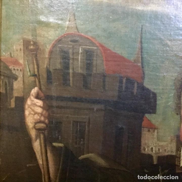 Arte: Magnífico óleo con particular iconografía NIÑO JESÚS COMO PEREGRINO - Foto 4 - 122146791