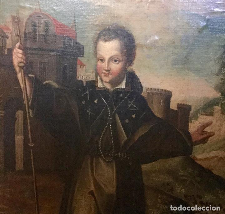 Arte: Magnífico óleo con particular iconografía NIÑO JESÚS COMO PEREGRINO - Foto 6 - 122146791