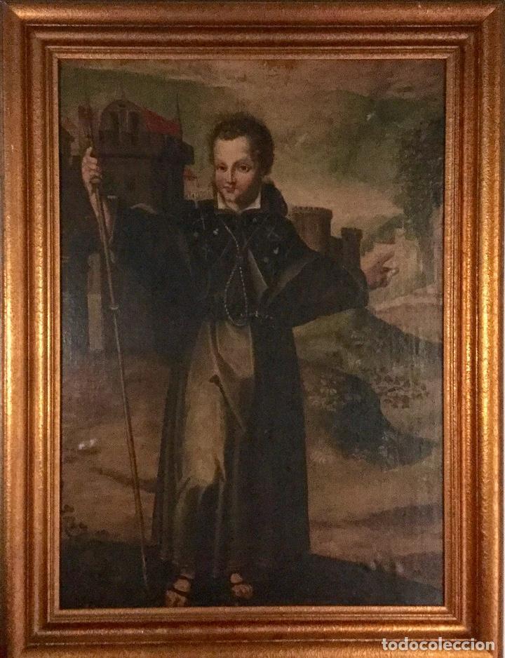 Arte: Magnífico óleo con particular iconografía NIÑO JESÚS COMO PEREGRINO - Foto 7 - 122146791