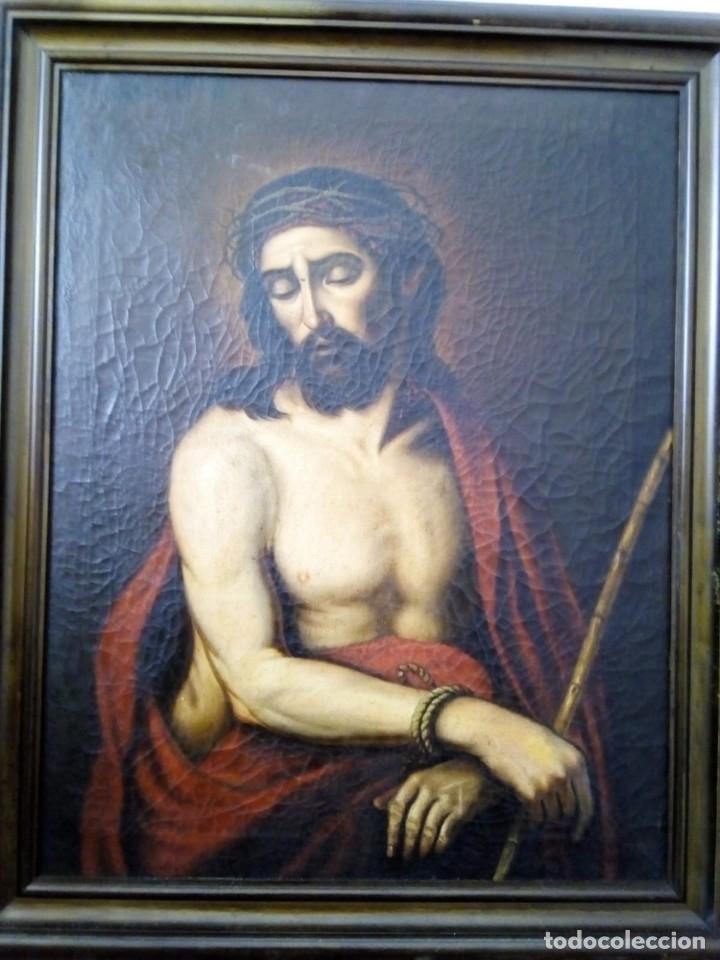 ECCE HOMO. LIENZO 70X90. SIGLO XVIII. (Arte - Arte Religioso - Pintura Religiosa - Oleo)