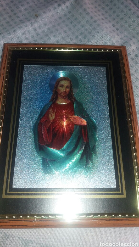 PRECIOSO CUADRO CORAZÓN DE JESÚS (Arte - Arte Religioso - Litografías)