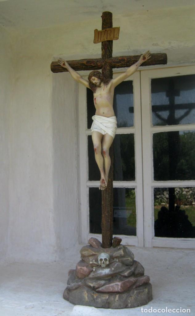 C.1880 GRAN CRISTO DEL PERDÓN - EL ARTE CRISTIANO OLOT . 90 CM . PASTA DE MADERA CRUZ PEANA CALAVERA (Arte - Arte Religioso - Escultura)