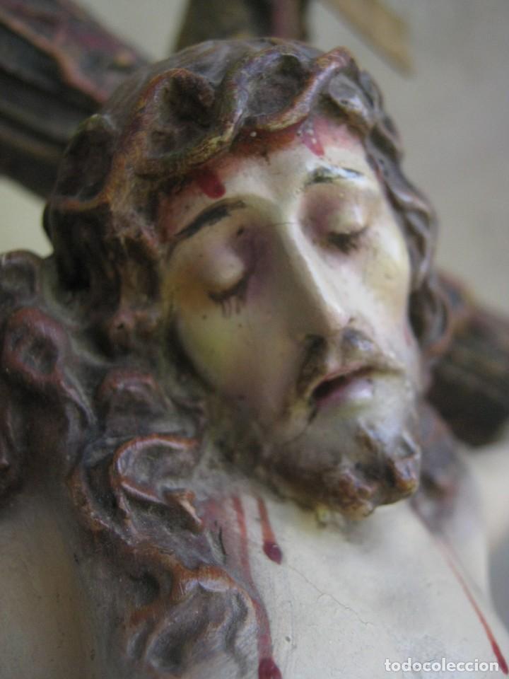 Arte: 90 CM - Grande Cristo del Perdon - El Arte Cristiano Olot Pasta de madera c.1900 Cruz peana Calavera - Foto 2 - 122224563