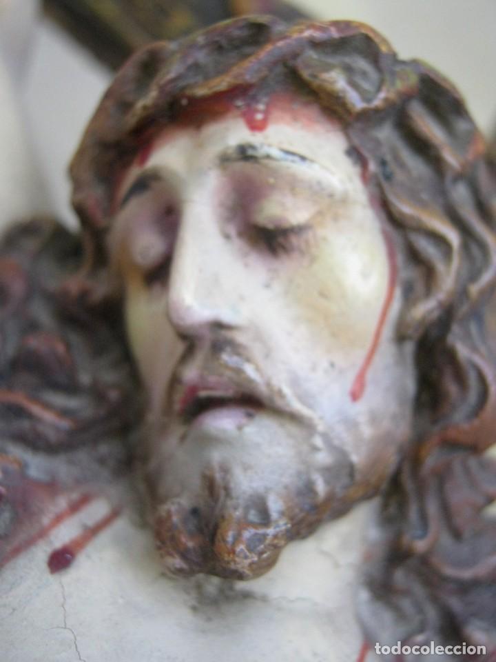 Arte: 90 CM - Grande Cristo del Perdon - El Arte Cristiano Olot Pasta de madera c.1900 Cruz peana Calavera - Foto 4 - 122224563