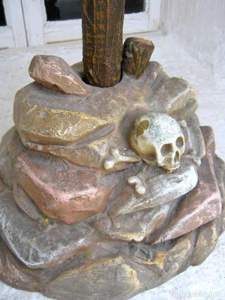 Arte: c.1880 Gran Cristo del Perdón - EL ARTE CRISTIANO OLOT . 90 cm . Pasta de madera Cruz peana Calavera - Foto 3 - 122224563
