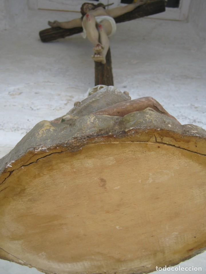 Arte: c.1880 Gran Cristo del Perdón - EL ARTE CRISTIANO OLOT . 90 cm . Pasta de madera Cruz peana Calavera - Foto 6 - 122224563