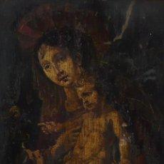 Arte: ÓLEO SOBRE COBRE - PINTURA DE VIRGEN CON EL NIÑO Y EL NIÑO DE SAN JUAN- S.XVIII. Lote 130258635