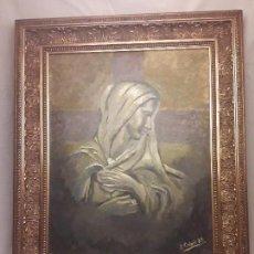 Arte: ÓLEO SOBRE TABLA FIRMADO J. CABOT AÑO 83 CON MARCO DORADO. Lote 122491595