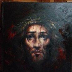 Arte: ECCE HOMO. CRISTO CON CORONA DE ESPINAS. LIENZO 65X54. ELIGE MARCO DE REGALO A TU GUSTO. JOLOGA.. Lote 122545079
