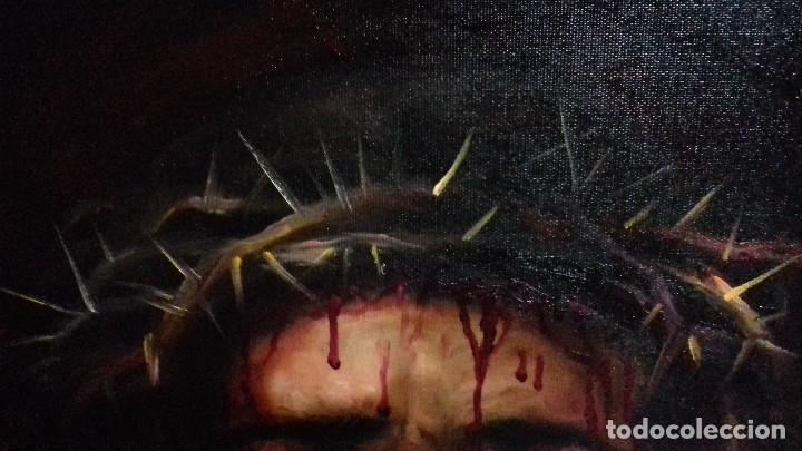 Arte: ECCE HOMO. CRISTO CON CORONA DE ESPINAS. LIENZO 65X54. ELIGE MARCO DE REGALO A TU GUSTO. JOLOGA. - Foto 4 - 122545079
