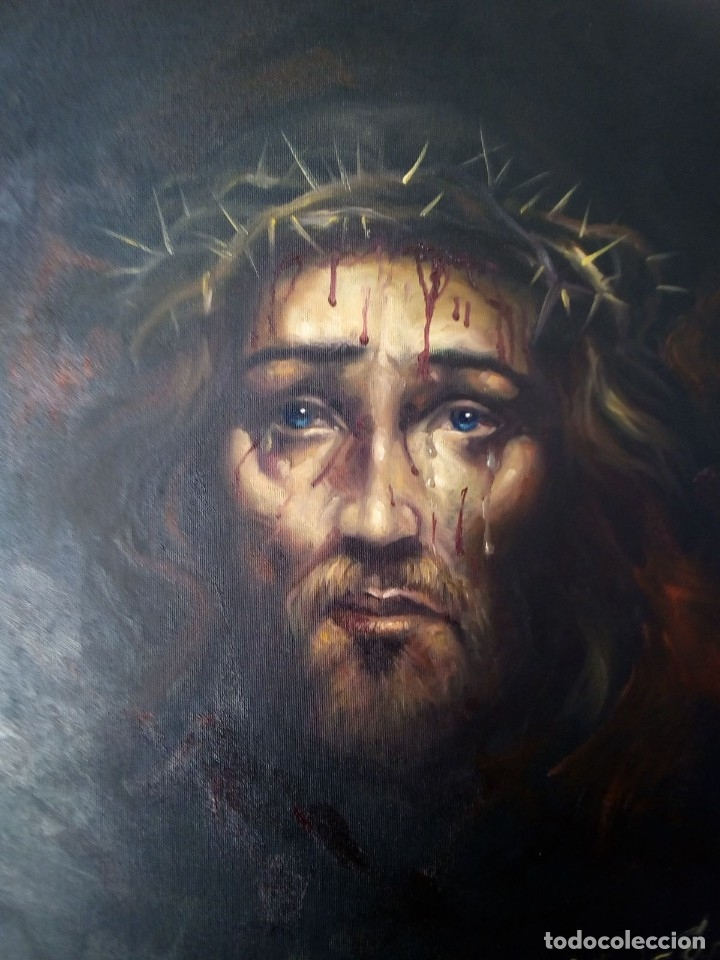 Arte: ECCE HOMO. CRISTO CON CORONA DE ESPINAS. LIENZO 65X54. ELIGE MARCO DE REGALO A TU GUSTO. JOLOGA. - Foto 7 - 122545079