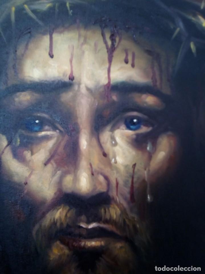 Arte: ECCE HOMO. CRISTO CON CORONA DE ESPINAS. LIENZO 65X54. ELIGE MARCO DE REGALO A TU GUSTO. JOLOGA. - Foto 9 - 122545079