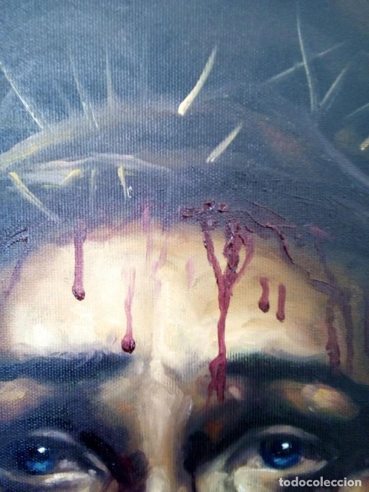 Arte: ECCE HOMO. CRISTO CON CORONA DE ESPINAS. LIENZO 65X54. ELIGE MARCO DE REGALO A TU GUSTO. JOLOGA. - Foto 11 - 122545079