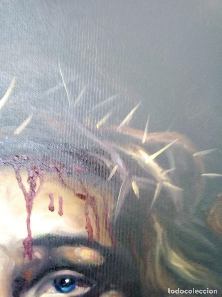 Arte: ECCE HOMO. CRISTO CON CORONA DE ESPINAS. LIENZO 65X54. ELIGE MARCO DE REGALO A TU GUSTO. JOLOGA. - Foto 13 - 122545079