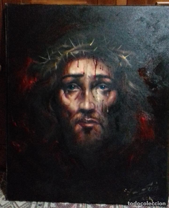 Arte: ECCE HOMO. CRISTO CON CORONA DE ESPINAS. LIENZO 65X54. ELIGE MARCO DE REGALO A TU GUSTO. JOLOGA. - Foto 14 - 122545079