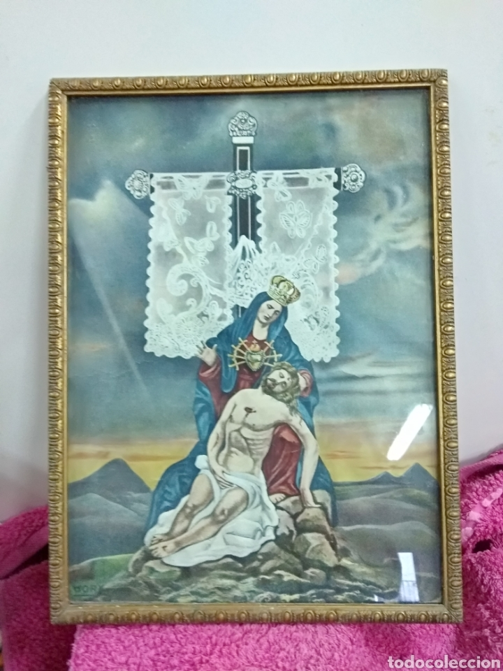PRECIOSA LÁMINA ENMARCADA. VIRGEN DE LA DOLOROSA. 39 X 29 CMS (Arte - Arte Religioso - Litografías)