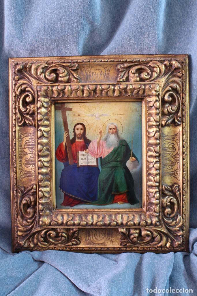 ICONO RUSO SANTÍSIMA TRINIDAD. ÓLEO. S.XIX (Arte - Arte Religioso - Iconos)
