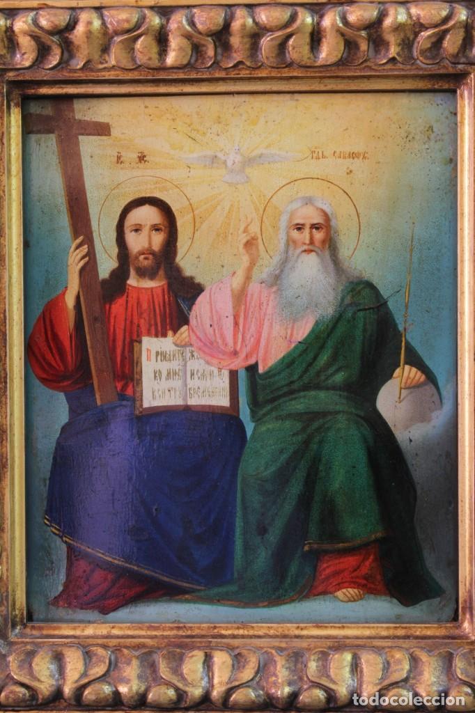 Arte: Icono ruso Santísima Trinidad. Óleo. S.XIX - Foto 2 - 122665307