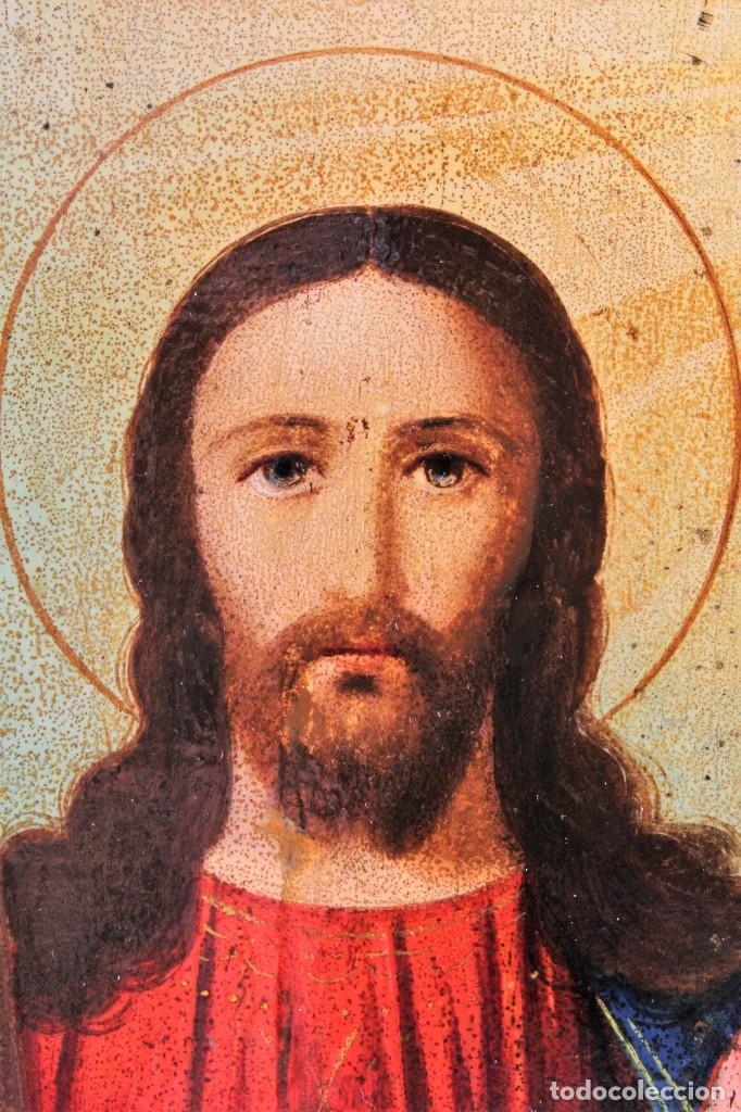 Arte: Icono ruso Santísima Trinidad. Óleo. S.XIX - Foto 5 - 122665307