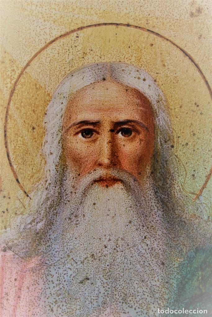 Arte: Icono ruso Santísima Trinidad. Óleo. S.XIX - Foto 6 - 122665307