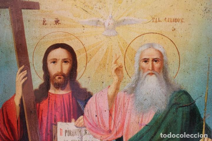 Arte: Icono ruso Santísima Trinidad. Óleo. S.XIX - Foto 9 - 122665307