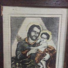 Arte: LAMINA LITOGRAFIA COLOREADA ENMARCADA SIGLO XIX SAN JOSÉ. Lote 122683027