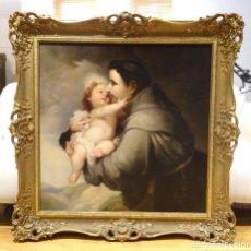 Arte: SEGUIDOR DE MURILLO, GRAN OLEO SOBRE LIENZO SIGLO XVIII, SAN FRANCISCO DE ASIS Y NIÑO JESUS,115X115 . Lote 122715259