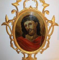 Arte: ÓLEO SOBRE CRISTAL CON MARCO CORNUCOPIA DORADA - ECCE HOMO - SIGLO XVIII. Lote 122778611