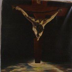 Arte: CRISTO DE SAN JUAN DE LA CRUZ O CRISTO DE DALI - OLEO SOBRE LIENZO - 33 X 47CM 1963 - FIRMADO VARELA. Lote 122914255