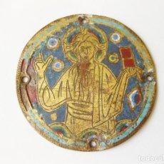 Arte: GRAN ESMALTE MEDIEVAL DE LIMOGES CON LA IMAGEN DE CRISTO O PANTOCRATOR - SIGLO XII O XIII. Lote 122919307
