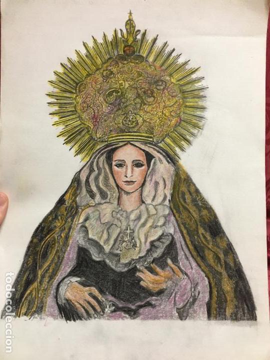 PINTURA A LAPIZ DE COLOR VIRGEN SOLEDAD - COFRADIA DE LA VERA CRUZ - SEMANA SANTA DE CADIZ (Arte - Arte Religioso - Pintura Religiosa - Otros)