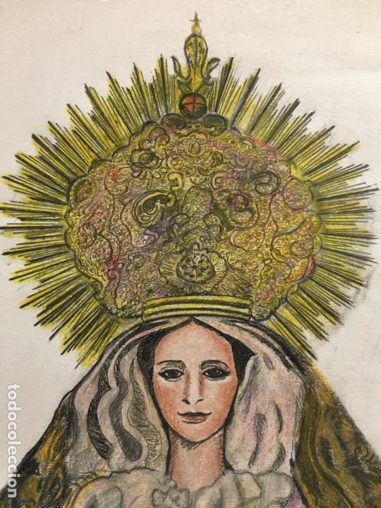 Arte: PINTURA A LAPIZ DE COLOR VIRGEN SOLEDAD - COFRADIA DE LA VERA CRUZ - SEMANA SANTA DE CADIZ - Foto 3 - 122974595
