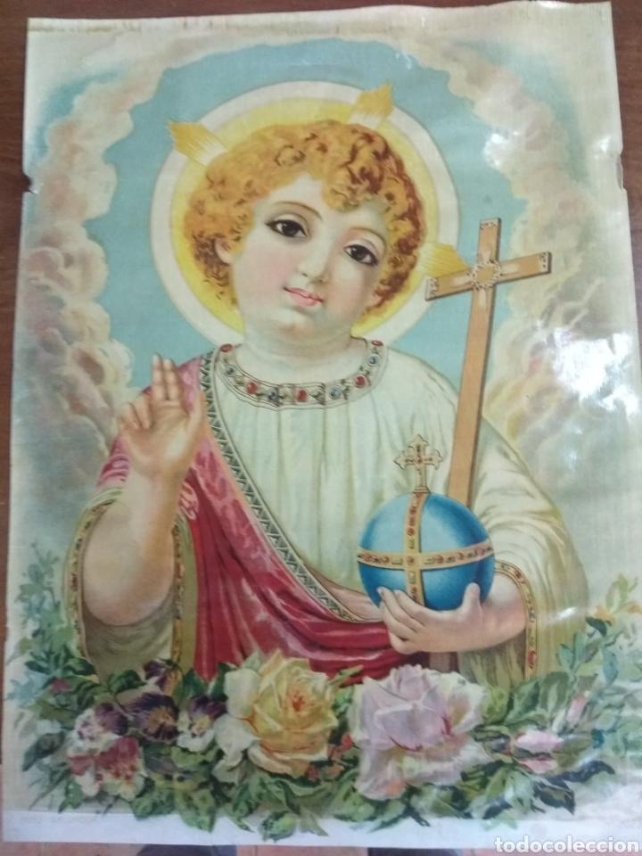 PRECIOSA LITOGRAFÍA NIÑO SALVADOR. NUMERADA 2023. AÑOS 20 O 30. 42 X 31 CMS (Arte - Arte Religioso - Litografías)