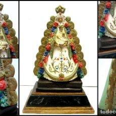 Arte: ANTIGUA VIRGEN DEL ROCIO - ESTUCO OLOT MARCA + BELLA PEANA O PEDESTAL DE MADERA. Lote 88996876