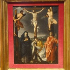 Arte: GRAN OBRA DE ARTE DEL SIGLO XVI, ESCUELA DE JAN MOSTAERT (1472-1555), PINTURA AL OLEO,LA CRUCIFIXION. Lote 123357015