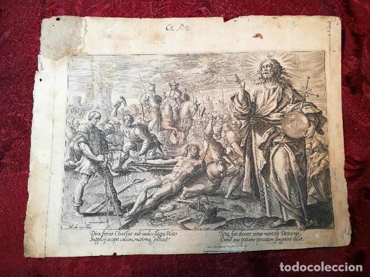 GRABADO ORIGINAL DE CLAES JANSZ VISSCHER OBRA DE MAARTEN DE VOS --BELGICA SIGLO XVI..1580 (Arte - Arte Religioso - Grabados)