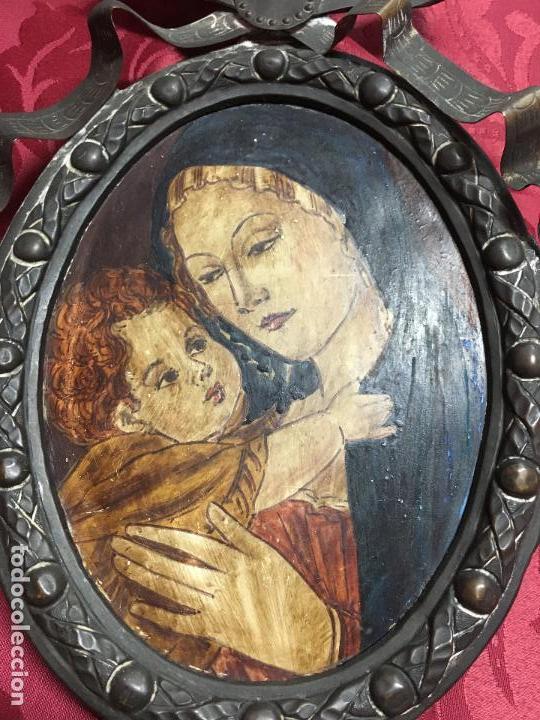 Arte: FANTASTICO OLEO VIRGEN CON NIÑO JESUS SOBRE COBRE Y MAGNIFICO MARCO DE METAL SIGLO XIX - RELIGIOSO - Foto 2 - 123782463