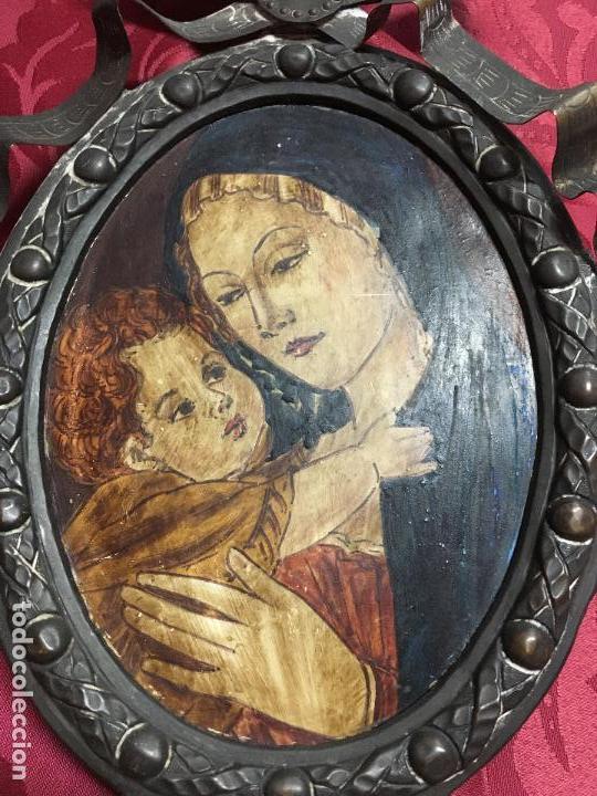 Arte: FANTASTICO OLEO VIRGEN CON NIÑO JESUS SOBRE COBRE Y MAGNIFICO MARCO DE METAL SIGLO XIX - RELIGIOSO - Foto 3 - 123782463