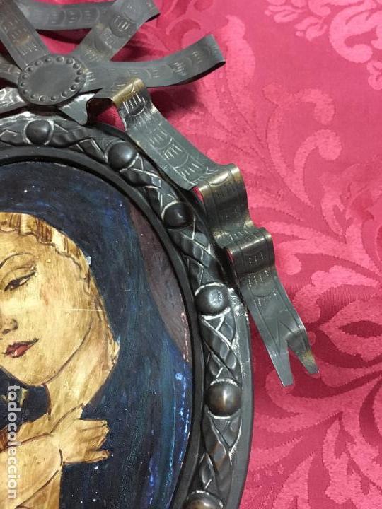 Arte: FANTASTICO OLEO VIRGEN CON NIÑO JESUS SOBRE COBRE Y MAGNIFICO MARCO DE METAL SIGLO XIX - RELIGIOSO - Foto 6 - 123782463
