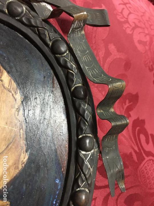 Arte: FANTASTICO OLEO VIRGEN CON NIÑO JESUS SOBRE COBRE Y MAGNIFICO MARCO DE METAL SIGLO XIX - RELIGIOSO - Foto 7 - 123782463