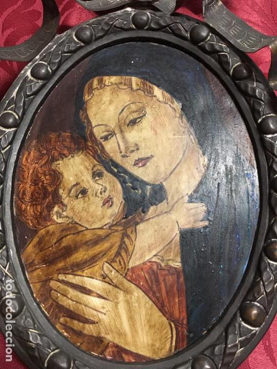 Arte: FANTASTICO OLEO VIRGEN CON NIÑO JESUS SOBRE COBRE Y MAGNIFICO MARCO DE METAL SIGLO XIX - RELIGIOSO - Foto 9 - 123782463