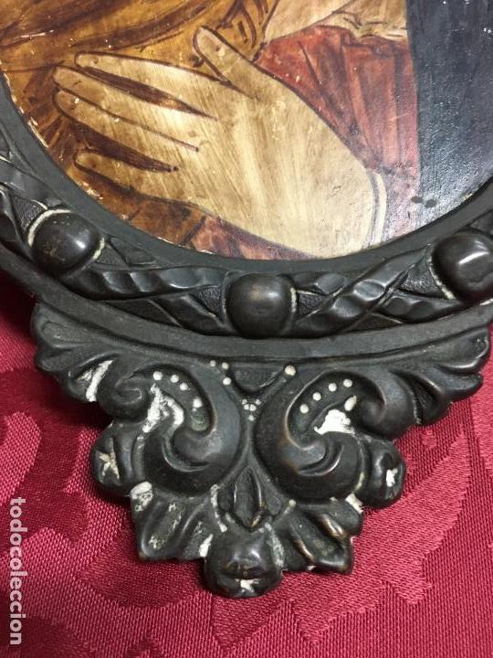 Arte: FANTASTICO OLEO VIRGEN CON NIÑO JESUS SOBRE COBRE Y MAGNIFICO MARCO DE METAL SIGLO XIX - RELIGIOSO - Foto 10 - 123782463