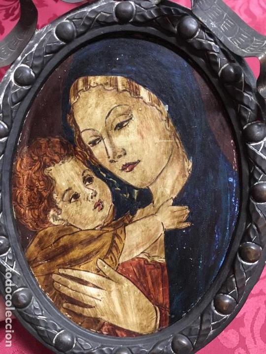 Arte: FANTASTICO OLEO VIRGEN CON NIÑO JESUS SOBRE COBRE Y MAGNIFICO MARCO DE METAL SIGLO XIX - RELIGIOSO - Foto 14 - 123782463