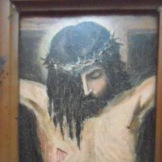 Arte: OLEO SOBRE TABLA EL CRISTO DE VELAZQUEZ FIRMADO E GRAU ENRIQUE ? 1947 CUADRO RELIGIOSO IDEAL CAPILLA. Lote 124172611