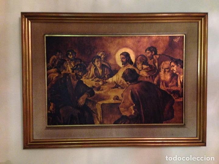 ORIGINAL CUADRO DE LA SANTA CENA ENMARCADO Y PINTADO AL ÓLEO SOBRE TABLA (Arte - Arte Religioso - Pintura Religiosa - Oleo)