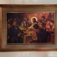 Arte: ORIGINAL CUADRO DE LA SANTA CENA ENMARCADO Y PINTADO AL ÓLEO SOBRE TABLA. Lote 124219239
