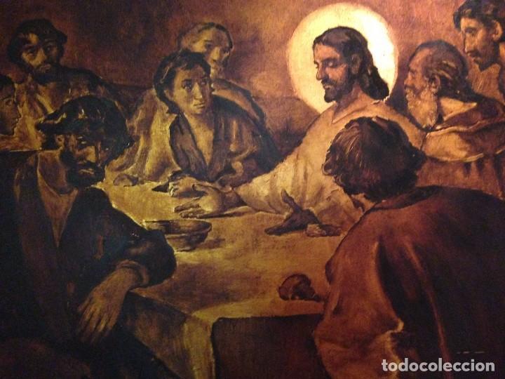 Arte: Original cuadro de la Santa Cena enmarcado y pintado al óleo sobre tabla - Foto 2 - 124219239