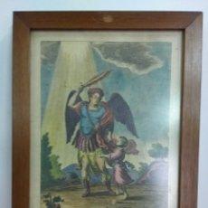 Arte: ANTIGUA LÁMINA DEL ÁNGEL DE LA GUARDA. ENMARCADA EN BUENA MADERA. 29 X 21 CMS. Lote 124299099
