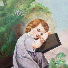 Arte: JESÚS NIÑO CON CRUZ.OLEO/TABLA.TEXTOS EN LATÍN.ANONIMO.. Lote 124401428