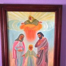 Arte: OLEO SOBRE LIENZO. LA SAGRADA FAMILIA. ORIGINAL VISIÓN DEL ARTISTA. PIEZA UNICA. GRAN TAMAÑO.. Lote 124509243